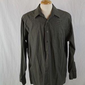 DKNY Dark Green Check 17 34/35 Dress Shirt